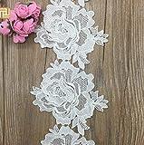 Hot Fahion 2 metros 13 cm ancho hueco 2017 alta calidad nuevo blanco agua soluble adornos de encaje para vestido de novia