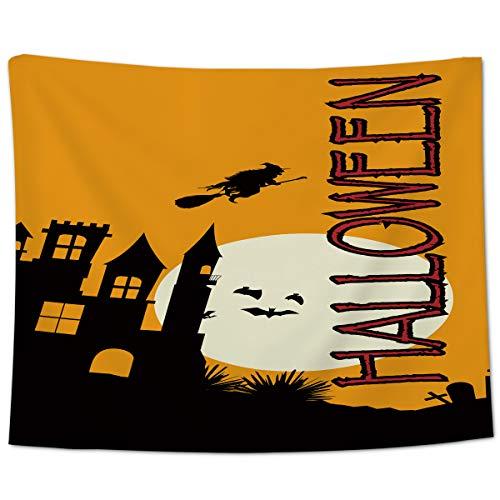 Yo Chairon muur opknoping gooi tapijt, Halloween kasteel heks vleermuizen thuis wandtapijten voor Office Keuken Slaapkamer Slaapkamer Woonkamer Decor
