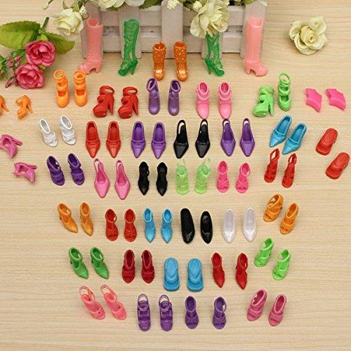 CAMTOA 40 Paia Fashion Dolls Scarpe, Tacchi Alti, Sandali, Stivali per La Bambola Regalo,Multicolore (Adatti per Barbie Dolls)