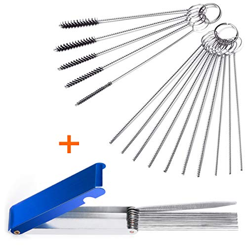 Set of 2 Carburetor Carbon Dirt Jet Remove Cleaner 13 Cleaning Wires Set + 10 Cleaning Needles + 5 Nylon Brushes Tool Kit for Motorcycle ATV Moped Welder Carb Chainsaw Spray Guns Torch Tips