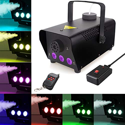 Fog Machine with lights, 7 Color LED 400-Watt Portable Fog Machine with Wireless Remote Control, Smoke Machines for Parties Halloween Wedding Christmas Dance DJ