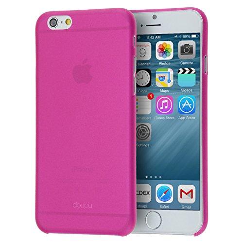 doupi UltraSlim Custodia per iPhone 6 Plus / 6S Plus (5,5 Pollici), Satinato fine Piuma Facile Mat Semi Trasparente Cover, Pink