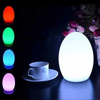 OSALADI LED Colorful Egg Shaped Night Light USB Charging Desk Lamp Table Lamp for Home Outdoor Bar - 10x15cm (Without Batt...