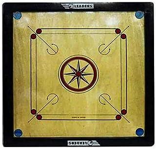 لوح كيرم خشبي من ليدرز، 30 x 30 بوصة، مع عملات «قروش» ومضرب «صول» ومسحوق  - «صنع في الهند»