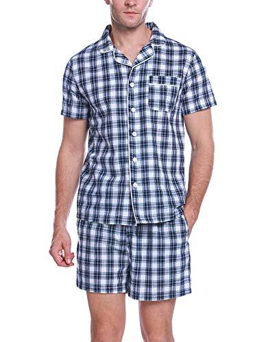 Aibrou Herren Zweiteiliger Schlafanzug Kurz Kariert Nachtwäsche Kurzarm Pyjama für Sommer Blau+Weiß XL