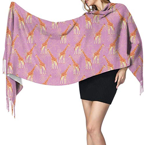 Bufandas cálidas suaves de invierno Jirafa Envolturas para mujeres Lana artificial Spinning Tassel Shawl Long Stole