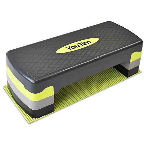 YouTen(ユーテン) ステップ台 3段調整 マット付き 踏み台 フィットネス ダイエット ストレッチボード 健康器具 静音 足踏み 有酸素運動用 ひねり運動 踏み台昇降 ダイエットマシーン ダイエット器具 ダイエットマシン シェイプアップ コンパクト