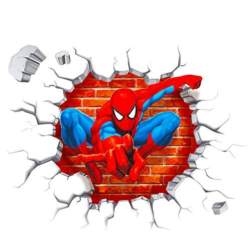 Polly Online 2PCS Spiderman Wall Decals 3D Wall Stickers for Kids Room