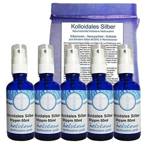 5x Kolloidales Silber 50 PPM 250ml (5x50ml) Sprühflaschen 7-tlg - Silberkolloid 99,99 Ionen Spray OSMOSEWASSER + LICHTSCHUTZ Glas - Ohne Zusatzstoffe - Hersteller. 26780-12