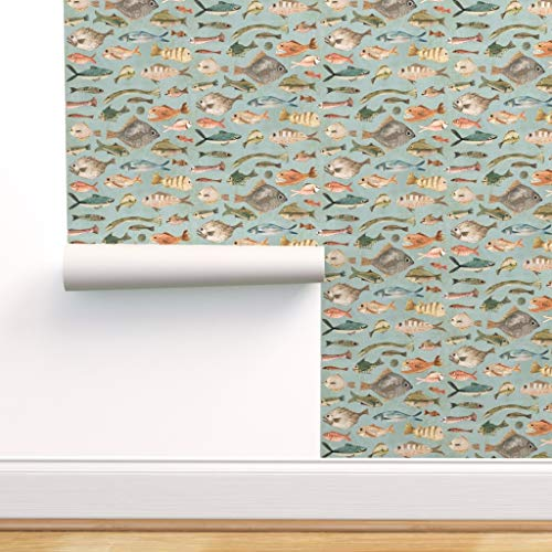 Spoonflower Peel and Stick Removable Wallpaper, Colorful Fish On Blue Scales Fins Swim Sea Ocean Life Swimming Print, Self-Adhesive Wallpaper 24in x 144in Roll