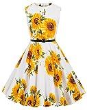 Kate Kasin Girls Sleeveless Vintage Print Swing Party Dresses 6-15 Years (11-12 Years, K250-28)