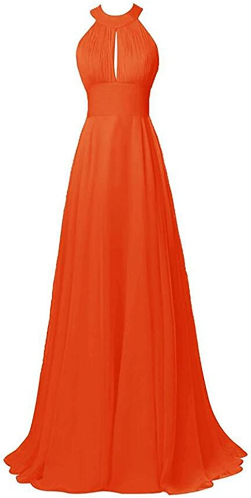 Burgundy Halter Neck Bridesmaid Dress Long Chiffon Prom Evening Party Gown