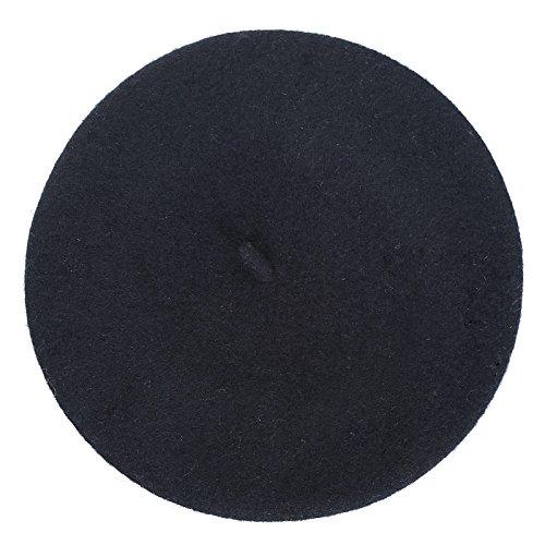 AWAYTR Children Wool French Beret Girl's Artist Hat Black