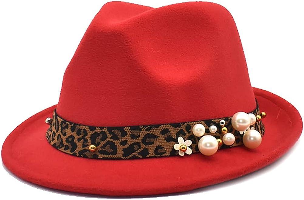 Womens Winter Spring Vintage Pearl Leopard Felt Fedora Hat, Wide Brim Fashion Panama Cap for Women