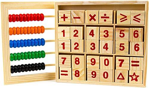 INTVN Holzabakus Spielzeug-Holzklötze, Montessori-Bildungs-Spielzeug,Bunt Hölzern Rechenrahmen Mathematik Spielzeug Abakus Zählrahmen Rechenschieber für Kinder Kid