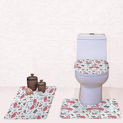 YSDDM Badmat Flamingo Patroon 3 Stuks/Set Toilet Stoelhoezen U Vorm Bloemen Badkamer Kleine Tapijt Vloer Voeten Bedrukte Badmatten -in Toilet Stoelhoezen van Huis & Tuin