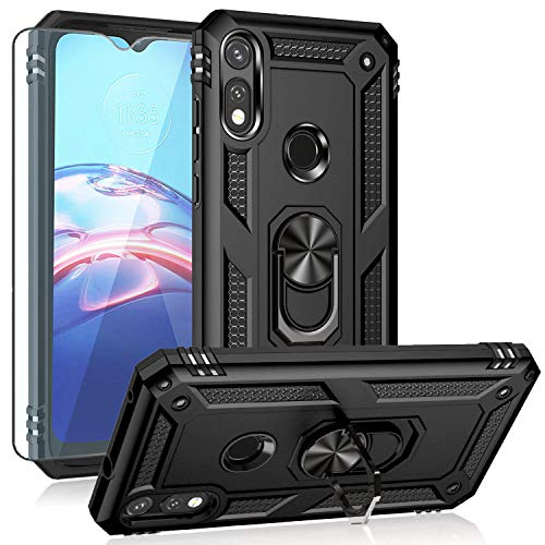 Moto E 2020 case,Motorola E case,with HD Screen Protector, YZOK [Military Grade] Ring Car Mount Kickstand Hybrid Hard PC Soft TPU Shockproof Protective Case for Motorola Moto E (Black)