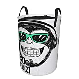 Large Storage Baskets,Music Cool Monkey Slogan and Rock Boy Graphic Gorilla Headphone,Drawstring Waterproof Round Collapsible Laundry Hamper for Dirty Clothes Toy Home Office 21.6'X16.5'