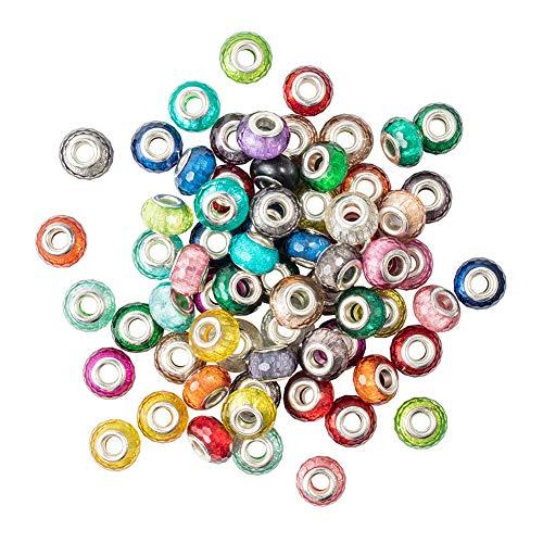 PandaHall ca. 100 STK. sortierte Farbe Harz großes Loch Rondell European Beads mit silberfarbenen Messing Kerne für die Schmuckherstellung,facettiert,Bohrung: 5 mm