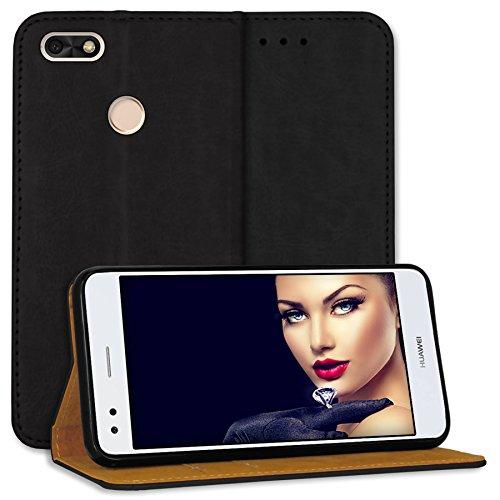 mtb more energy® Leder Bookstyle Case für Huawei P9 Lite Mini / Y6 Pro 2017 (5.0'') - schwarz - Echtleder - Schutz-Tasche Wallet Folio Cover Hülle