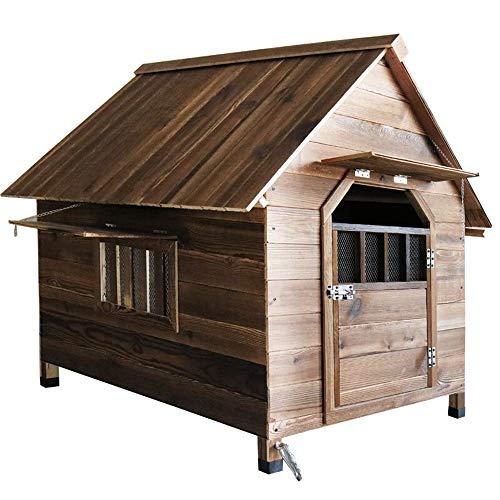 SongMyao Holzhaus Für Haustiere Im Freien Tier Feld Hund Katze Tierheim Schloss Hund Spielen (Color : Brown, Size : 99x92x95cm)