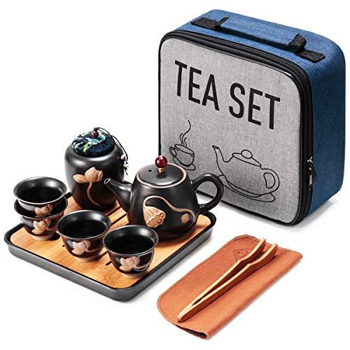 Mini set da tè in ceramica Kungfu, teiera da viaggio con vassoio 4 tazze, vaso da tè cinese in porcellana, tutto in uno, regalo per casa, hotel, picnic