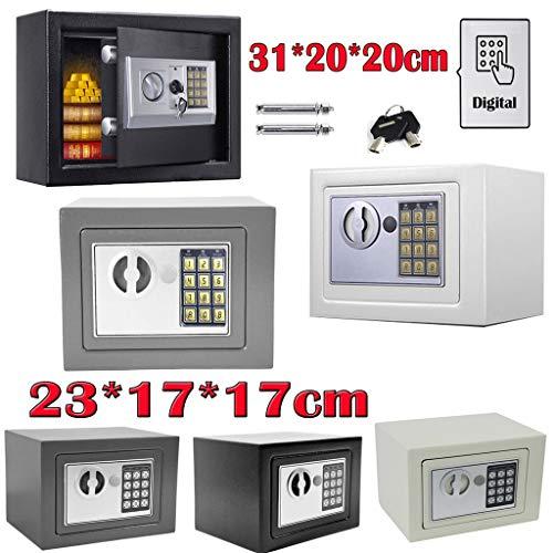 Elektronik Tresor mit zahlenschloss 23x17x17cm 4.6L Doppelstahlbolzen Montagematerial Safe Möbeltresor Wandtresore - Schwarz