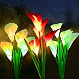 WOSPORTS Solar Lights Outdoor Garden Stake Flower Lights, Multi Color Changing LED Lily...