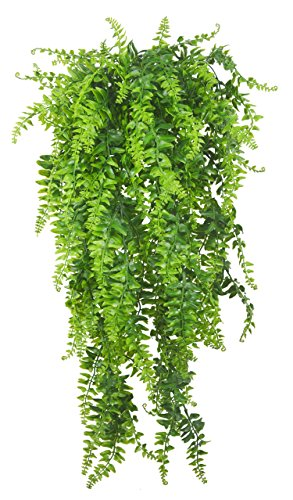 Artificial Plants Vines Fern Persian Rattan Fake Hanging Plant faux hanging Boston ferns flowers Vine Outdoor UV Resistant Plastic Plants for Wall Indoor Hanging Baskets Wedding Garland Decor-2 pcs
