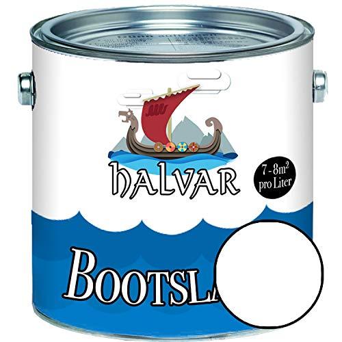Halvar Bootslack Weiß/Grau/Schwarz RAL 9001-9018 Yachtlack GLÄNZEND Bootsfarbe PU-verstärkt für Holz & Metall extrem belastbar hochelastisch Schiffslackierung (1 L, RAL 9010 Weiß)