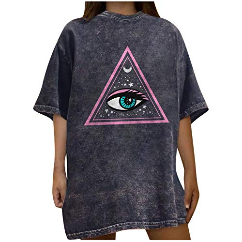 Oversized Vintage Graphic Tees for Women Gothic Sun Moon/Skeleton/Eye Print T Shirt Summer Casual Loose Short Sleeve Tops