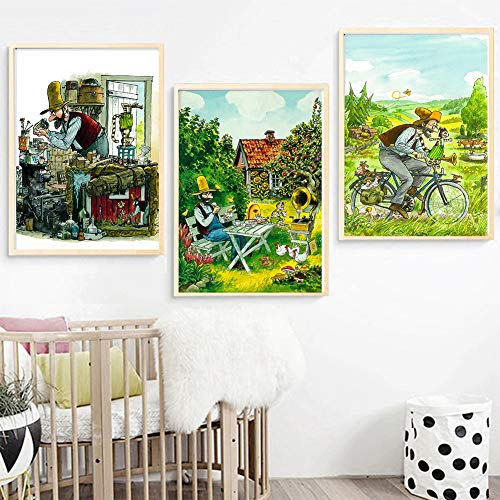 Swiss Art Pettson and Findus Canvas Painting Vintage Kraft Posters Classic Wall Stickers Wall Art For Nursery Kids Bedroom 50x70cmx3, sin marco