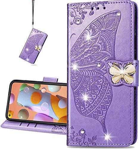 COTDINFOR Compatible with LG K42 Hülle,Diamant Kristall Schutzhülle Magnet Handytasche Kartenfächer Lederhülle Flip Handyhüllen für LG K42 Cover Diamond Butterfly Violet SD