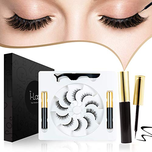 i-Laesh 2021 Natural Magnetic Eyelashes with Eyeliner Kit, Magnetic Lashes Natural Looking, Most Natural Magnetic False Eyelashes on The Market, 5 Pairs with 2 Eyeliner and Tweezer, no Glue.