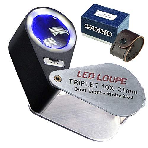 Mini Folding Jewellers Eye Loupe Schmuck Lupe für Edelsteine Schmuck Rocks Briefmarken Münzen Uhren Hobbys Antiquitäten Edelsteine, Münzen, Briefmarken (10 x + UV Light,6 LED Lights)
