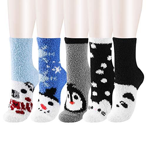 5 Pack Women Girls Fuzzy Fluffy Socks, Great for Holiday Winter or Christmas,Cabin Soft Warm Slipper Crew Cute Cozy Socks (Winter Animals)