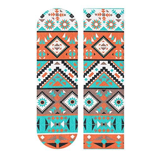 LMFshop 33,1x9,1 Zoll Sport Outdoor Longboard Aufkleber Ethnische Stammes Indianer Navajo Geometric Print wasserdichte Skateboards Schleifpapier Für Tanzbrett Doppel Rocker Board Deck 1 Blatt