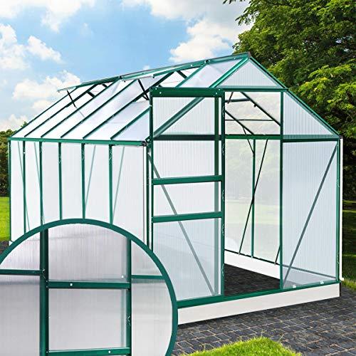 BRAST Gewächshaus Aluminium mit Fundament rostfrei 380x190x195 Grün 6mm Platten Alu Treibhaus Glashaus Tomatenhaus