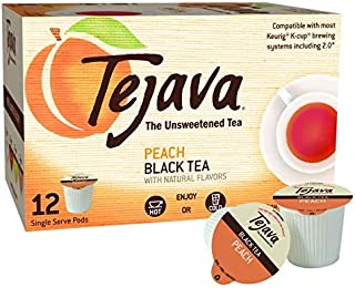 Tejava Original Unsweetened Black Tea, Natural Peach Flavor Pods - 12 count