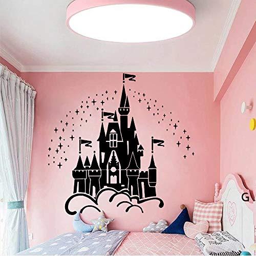 HNXDP Cartoon Castle Under The Stars Etiqueta de la pared para niñas Decoración del dormitorio Decoración de la habitación de los niños Accesorios Tatuajes de pared Pegatinas Mural 58cmx59cm