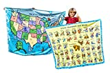 USA Map 50 States Capitals Childrens Learn Birds America Facts Educational Blanket Tapestry Reversible Large Bedroom 50x60