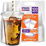 Stack Man [100 Sets - 20 oz.] Clear Plastic Cups with Straw Slot Lid, PET Crystal Clear Disposable...
