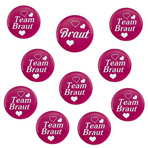 Oblique Unique® 1 x Braut & 9 x Team Braut Buttons für Junggesellenabschied I Hochzeit I Anstecker