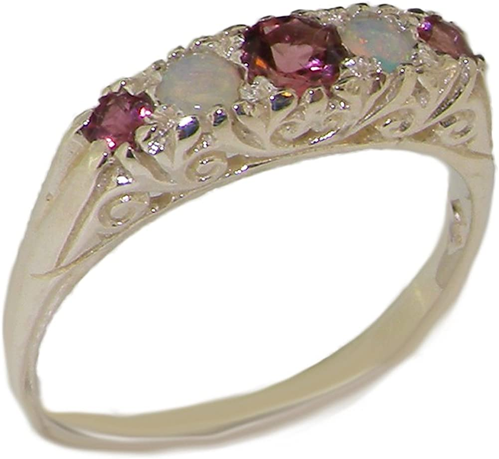925 Sterling Silver Real Genuine Oklahoma City Mall Spring new work one after another Womens Tourmaline Pink and Opal