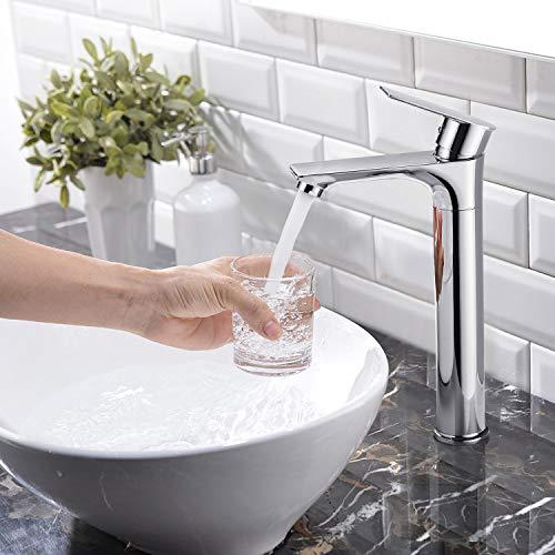 BONADE Waschtischarmatur 360° drehbare Badarmatur Wasserhahn mit Hoher Auslauf Einhebelmischer Armatur für Bad Waschbeckenarmatur Verchromt, Für Aufsatzwaschbecken Geeignet