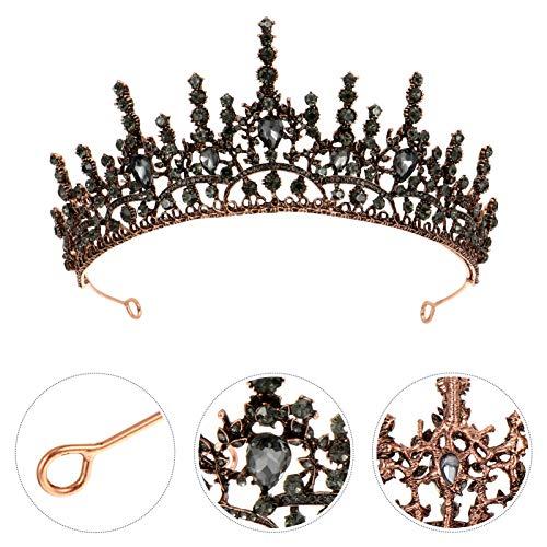 Frcolor Corona Barroca Tiara de Reina de Diamantes de Imitacin Corona Nupcial Joyera Diadema Accesorios para El Cabello para Disfraz de Fiesta de Graduacin de Cumpleaos