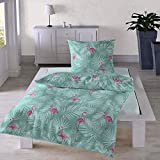 Traumschlaf Seersucker Bettwäsche Set • Top Modernes Flamingo Design Pink Rosa Sommerlich Frisch Mit Grünen Palmenblättern Und Reißverschluss • 155x220 cm + 80x80 cm