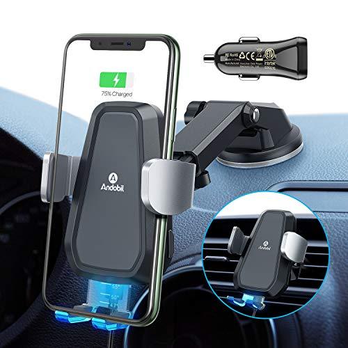 andobil Handhalterung Auto Wireless Charger Automatisches Spannen Lüftung & Saugnapf 3 in 1 Qi 10W Halterung Auto für iPhone SE/ 11/11 Pro/Samsung Galaxy Note10/S20/S10+(Auto Ladegerät Inbegriffen)
