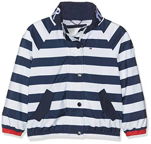 Tommy Hilfiger Mädchen Essential Stripe Printed Jacket Jacke, Weiß (Bright White 123), 110 (Herstellergröße: 5)