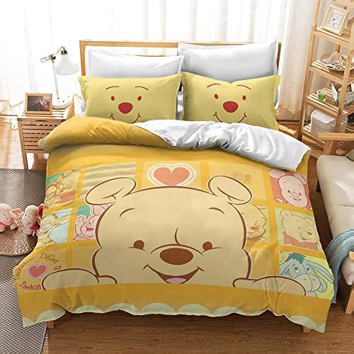 DFTY Winnie the Pooh Toddler Bedding Set Reversible Duvet Cover + Pillow Case with Zipper, Microfibre, 3D Digital Print, Multi-Colour, 14, 220*260CM